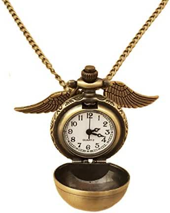 Wizardry Antique Tone Fairy Winged with Watch Pendant Necklace