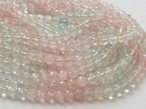 KALISA GEMS Beads Gemstone 1 Strand Natural Morganite Micro Faceted Round Balls, Natural Multi Aquamarine Necklace, Beryl Morganite, 5.5mm, 6 Inch ()