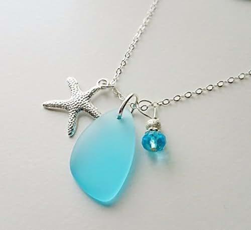 Amazon.com: STERLING SILVER CHAIN, Sea Glass Necklace, Sea