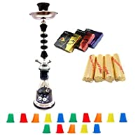 """Zebra Smoke Series: 22"""" 1 Hose Hookah (C6) Complete Set Combo KIT SET w/ Instant Charcoal (Like Three Kings Charcoal), Hydro Herbal Molasses(like Blue Mist), and Hookah Mouth Tips (Pick Your Color) (BLACK)"""