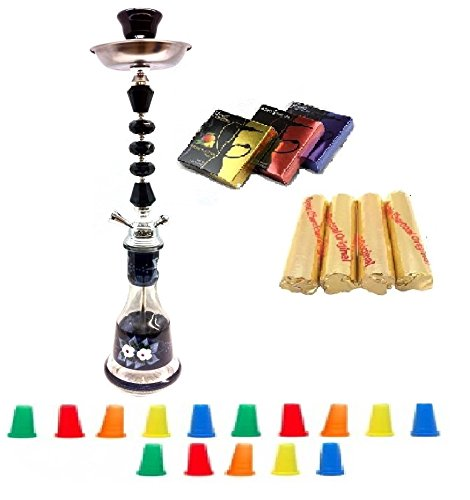 "Zebra Smoke Series: 22"" 1 Hose Hookah (C6) Complete Set Combo KIT SET w/ Instant Charcoal (Like Three Kings Charcoal), Hydro Herbal Molasses(like Blue Mist), and Hookah Mouth Tips (Pick Your Color) (BLACK)"