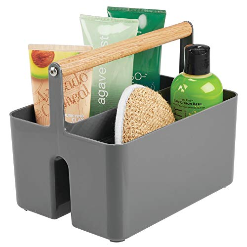 mDesign Plastic Portable Storage Organizer Utility Caddy Tote, Divided Basket Bin, Wood Handle for Bathroom, Dorm Room, Holds Hand Soap, Body Wash, Shampoo, Conditioner, Lotion - Charcoal Gray/Natural