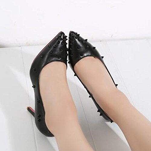 Women's Shoes Toe Aisun Heels Rivets High Low On Top Burnished Court Stiletto Black Pointed Slip a1ddZwq