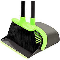 SANGFOR Broom and Dustpan Set Cleaning Supplies - Upright Broom and Dustpan Combo with Long Extendable Handle for Home Kitchen Room Office Lobby Floor Use Upright Stand up Dustpan Broom Set