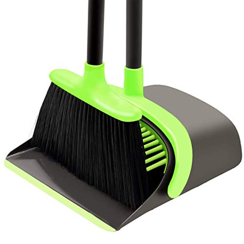 Ahomxin Broom and Dustpan Set Cleaning Supplies - Upright Broom and Dustpan Combo with Long Extendable Handle for Home Kitchen Room Office Lobby Floor Use Upright Stand up Dustpan Broom Set