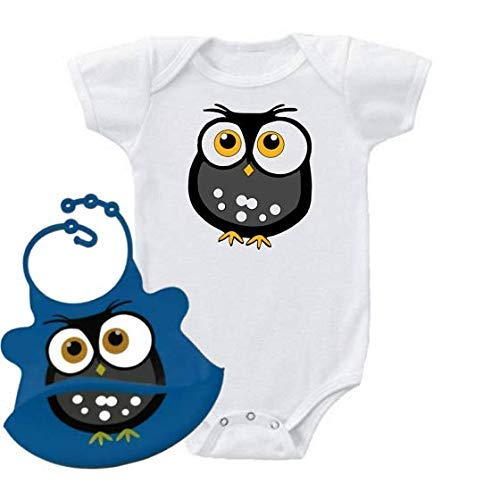 Owl Onesie and Matching Bib with Crumb Catcher Set One-Piece Baby Shirt ()
