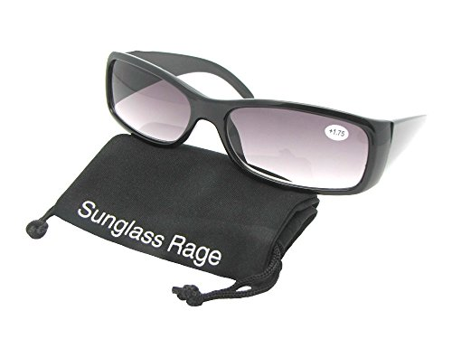 Style R19 Full Lens Reading Sunglasses With Sunglass Rage Pouch (Black Frame-Gray Lenses, - For Reading Glasses Asian Faces