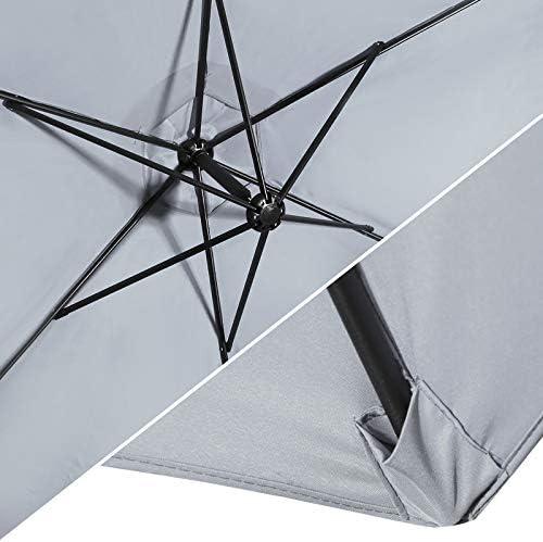 Flex HQ 10 ft Offset Cantilever Patio Umbrella Outdoor Market Hanging Umbrellas Crank