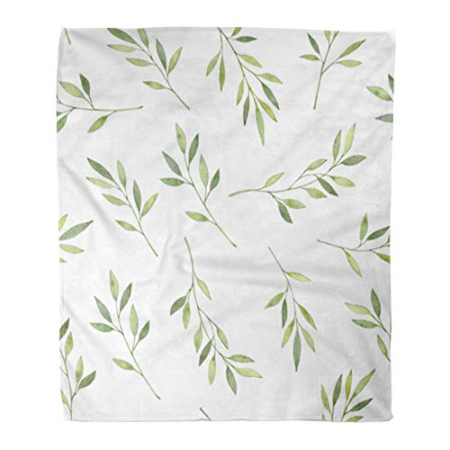 - Emvency Throw Blanket Warm Cozy Print Flannel Watercolor Botanical with Green Leaves Branches and Herbs Floral Design Perfect Comfortable Soft for Bed Sofa and Couch 50x60 Inches