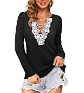 ULTRANICE Women's Long Sleeve Lace V Neck Shirts Causal Low Cut Criss Cross Front Tops Blouses