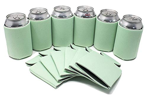 Tahoebay 12 Can Sleeves for Standard Cans Blank Poly Foam Beer Insulator Coolers (Mint, 12) -