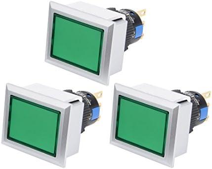 uxcell AC 250V 0.5A SPDTラッチング押しボタンスイッチ グリーングレーキャップ 方形ヘッド 3個入り