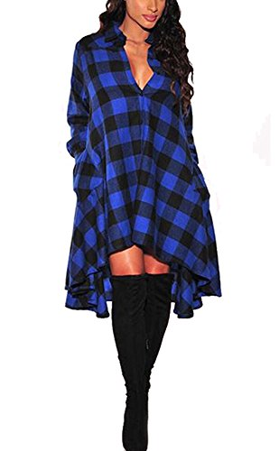 OLRAIN Womens New Plaids Irregular Hem Casual Shirt Dress X-Large Blue (Tartan Hooded Down Coat)