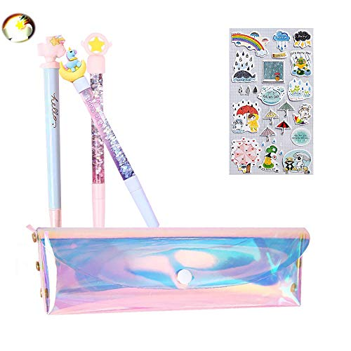 Cute Star/Moon/Cloud Ballpoint Pen,Sky Series Premium Black Gel Ink Office Writing Pens set of 3 with Pink Laser PU Pen Case Pencil Bag for School Office Supply Gift Stationery(Sky Pen - Clouds Pen