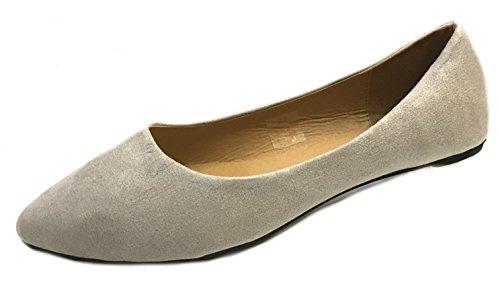 Shoes8teen Frauen Faux Wildleder Loafer Smoking Schuhe Wohnungen 3 Farben 8800 graues Micro