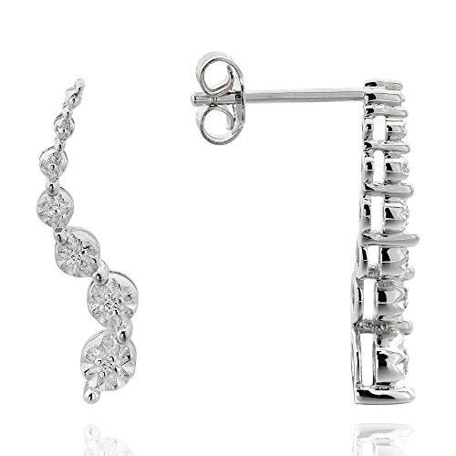 (Sterling Silver Diamond Accent Journey Stud Earrings)