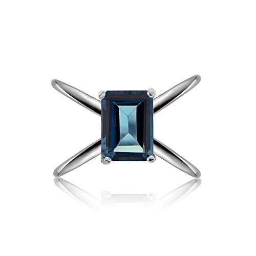 (Ice Gems Sterling Silver London Blue Topaz Octagon-Cut Criss Cross Ring, Size)