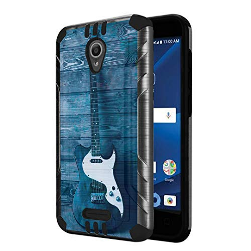 Capsule Case Compatible with Alcatel IdealXcite, Alcatel Verso, Alcatel CameoX, Alcatel Raven LTE [Dual Layer Slim Defender Armor Combat Case Dark Metal Gray] - (Guitar) -