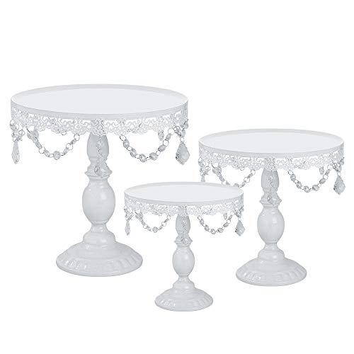 3pcs Set White Cake Stand Set Round Cupcake Holder Wedding Dessert Display Plate W/Crystal Tksale from Unknown