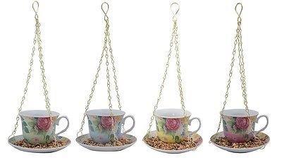 Chintz Ceramic Tea Cup Wild Bird Feeder with Hanging Chain. FB280. NEW DESIGN[Yellow] Perfect Plants