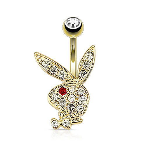 - Dynamique Multi Paved Gems On Playboy Bunny 14Kt Gold Plated Belly Button Ring