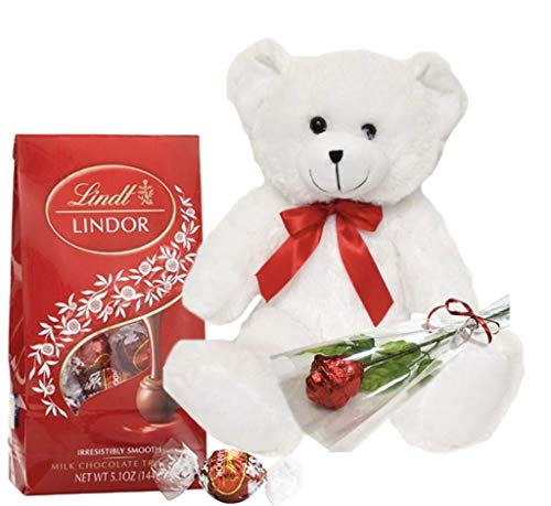 Teddy Bear with Milk Chocolate Truffles | One Sweetheart Edible Milk Chocolate Rose Wrapped in Italian Foil