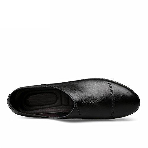 Meimei con stile uomo in 43 shoes on da tacco pelle leggero slip mocassino minimalista EU Dimensione piatto Mocassino foderata Color Nero 0qxrOwp0