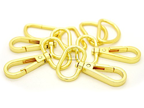 CRAFTMEmore 1 Inch Gold Finish Snap Hook Push Gate Lobster Clasps Fashion Swivels Clips with D-Rings 10 Sets (Gold, 1 Inch)