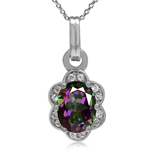 (1.5ct. Mystic Fire Topaz White Gold Plated 925 Sterling Silver Flower Pendant w/18' Chain Necklace)