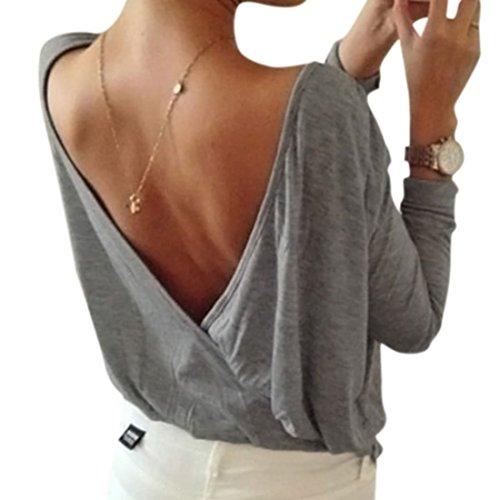 Minetom Mujeres Ocasionales Color Sólido Camisetas Con Manga Larga Escotado por Detrás Camisa T-shirt Blusa Tops Gris