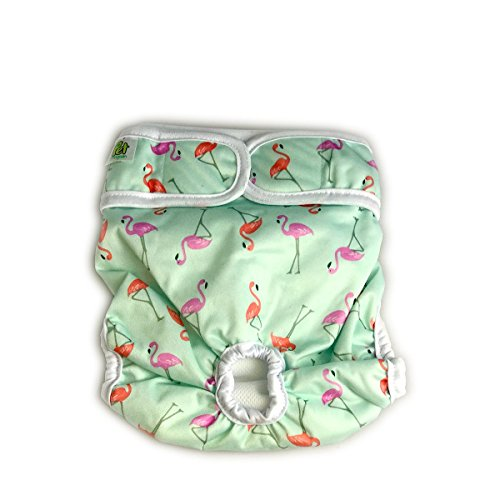 Image of Pet Magasin Luxury Reusable Dog Diapers (3-Pack) - Durable & Washable Sanitary Wraps Panties for Female Pets with Strong & Flexible Velcro (Trending, Small)