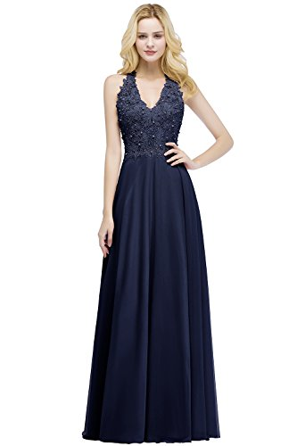 Babyonlinedress Sleeveless Sheer Mesh Pearl Beaded Long Prom Dresses,NavyBlue,8