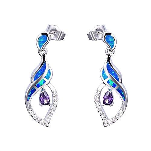 Finish White Opal (OMZBM Fire Opal Dangle Long Earrings Blue/White Gemstone Sterling Silver Simulated Diamond Stud Earrings Jewelry Women Girl,Blue)