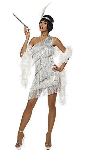 OvedcRay 1920S Roaring 20'S Adult Womens Silver Dazzling Flapper Gatsby Costume Dress