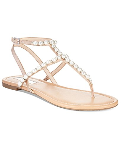 INC International Concepts Womens Madigane Fabric Open Toe Casual T-Strap San. Beige