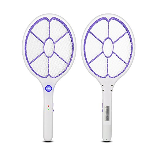 Yongtong 2-Pack USB Rechargeable Mosquito Racket, Handheld Bug Zapper Fly Killer Electric Swatter, LED Light, Unique Safe-to-Touch 3-layers Mesh, 2500-4500V Output