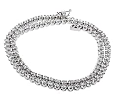10K White Gold Tennis Gold Chain With 5CTW Diamonds Genuine Round Diamonds 16in Long 7mm Wide 27.9gram Total