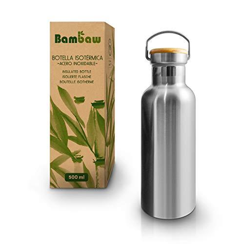 Botella Agua Acero Inoxidable 500ml | Termo Agua Fria Y Caliente | Bpa Free Botella | Termo Botella Reutilizable | Botella Acero Inoxidable | Facil De Limpiar | Ecologico Reutilizable| Bambaw