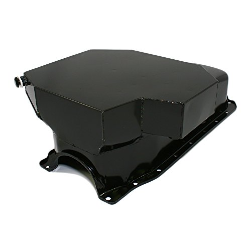 cts A7201P SBC Small Block Chevy Champ Style Black Oil Pan 8QT 86 1 Piece Rear Main Vortec (8 Qt Oil Pan)