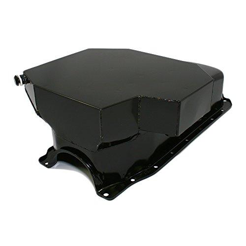 cts A7201P SBC Small Block Chevy Champ Style Black Oil Pan 8QT 86 1 Piece Rear Main Vortec (8 Qt Oil Pan)