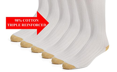 Cotton Dress Socks – Men's Crew Socks - 98% Cotton - 3 pk and 6 pk - by Topfit (11-13 White 6 Pk) by topfit (Image #5)
