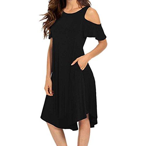❤️ Vestido a Media Pierna con Hombros Descubiertos para Mujer,Vestido de Oscilación de Manga Corta con Bolsillos Absolute Negro