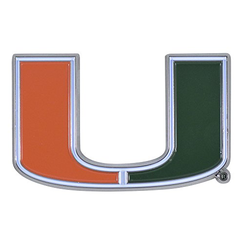 University of Miami Hurricanes Team Colored Premium Metal Car Truck Motorcycle Officially Licensed NCAA Emblem Practically Sticks to - Emblem Car Decorative Sticks