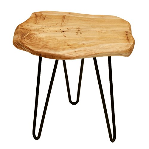 WELLAND Cedar Wood Stump Stool Unique Rustic Surface Stool With 3-Leg Metal Stand (Rustic Wood)