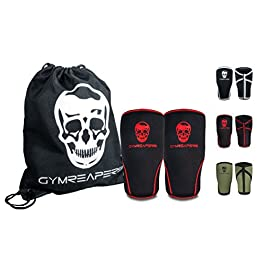 Gymreapers Knee Sleeves (1 Pair) Free Gym Bag – Knee Sleeve & Compression Brace for Squats, Fitness, Weightlifting, and Powerlifting 7MM Sleeve Pair – for Men & Women – 1 Year Warranty (X-Large)