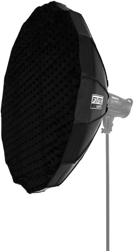 "Fovitec - 40"" Collapsible White Beauty Dish with Grid for Portrait Photography & Video"