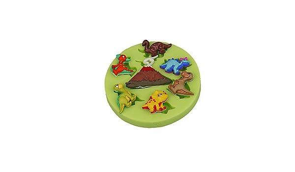 Generic volcán dinosaurio taza de molde de silicona Fondant pastel decoración Sugarcraft herramientas de arcilla de polímero FIMO Chocolate Candy Making ...