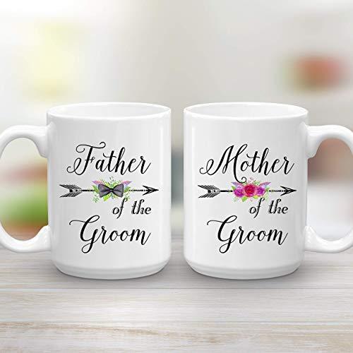 (Mother and Father of the Groom Wedding Gift Mug Set, 2 Large 15 oz Coffee Mugs)