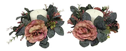 - Wholesale Silk Floral Antiqued Victorian Candle Ring, Set of 2, Mauve