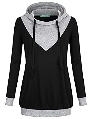 Kimmery Women's Long Sleeve Pullover Color Block Hooded Lightweight Knitted Sweatshirt
